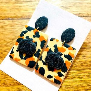 Pumpkin and cheetah print dangle earrings